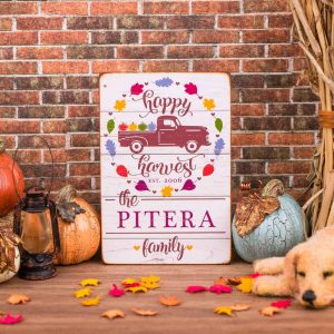 Personalized Happy Harvest Porch Sign
