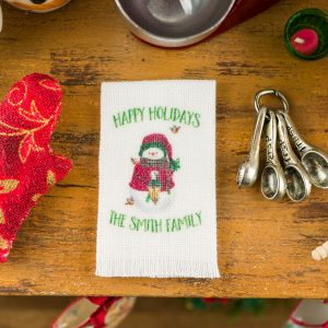 Personalized Happy Holidays Snowman Tea Towel