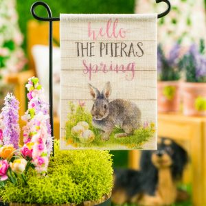 Personalized Hello Spring Rabbit Garden Flag