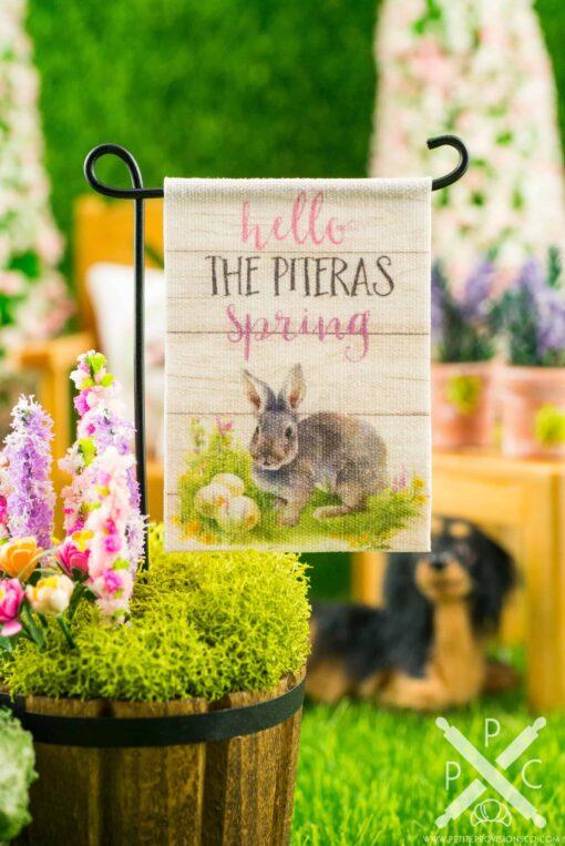 Dollhouse Miniature Personalized Hello Spring Rabbit Garden Flag