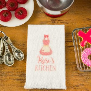Personalized Pink Apron Kitchen Tea Towel