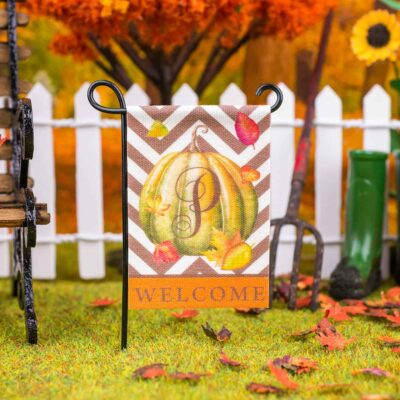 Dollhouse Miniature Personalized Monogram Autumn Pumpkin Welcome Garden Flag - 1:12 Dollhouse Miniature Garden Flag
