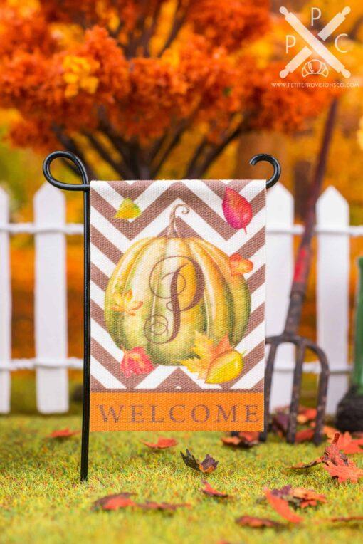 Dollhouse Miniature Personalized Monogram Autumn Pumpkin Welcome Garden Flag - 1:12 Dollhouse Miniature Garden Flag