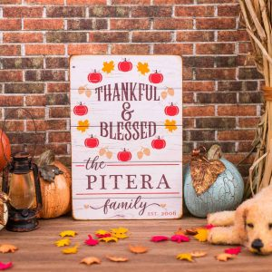 Personalized Thankful & Blessed Porch Sign