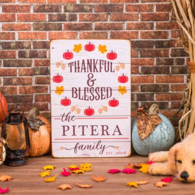 Dollhouse Miniature Personalized Thankful & Blessed Porch Sign - 1:12 Dollhouse Miniature Thanksgiving Sign - Fall Miniatures