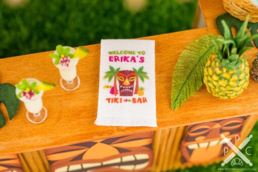 Dollhouse Miniature Personalized Tiki Bar Tea Towel - Tropical Cocktail Kitchen Towel - 1:12 Dollhouse Miniature Tea Towel