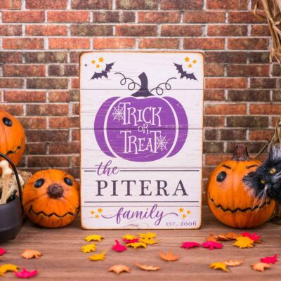 Dollhouse Miniature Personalized Trick or Treat Porch Sign - 1:12 Dollhouse Miniature Halloween Sign - Halloween Miniatures