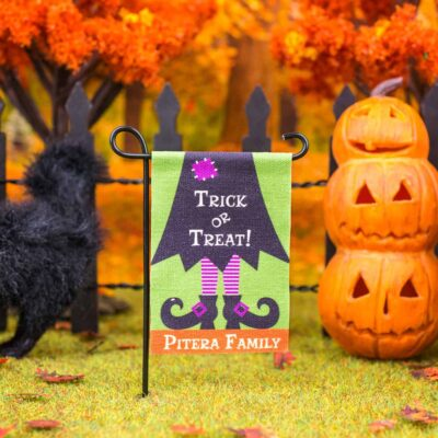 Dollhouse Miniature Personalized Trick or Treat Halloween Witch Garden Flag
