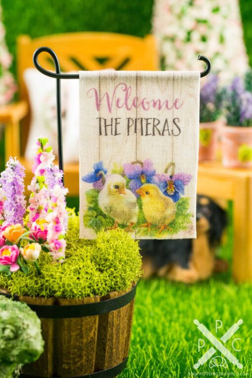 Dollhouse Miniature Personalized Welcome Chicks Spring Garden Flag