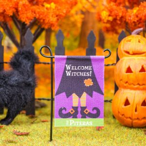 Personalized Welcome Witches Halloween Garden Flag