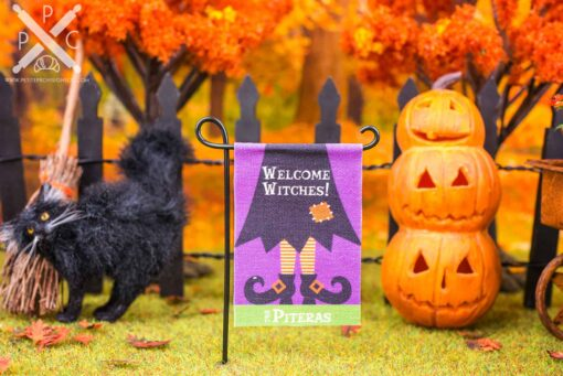 Dollhouse Miniature Personalized Welcome Witches Halloween Garden Flag - 1:12 Dollhouse Miniature Garden Flag