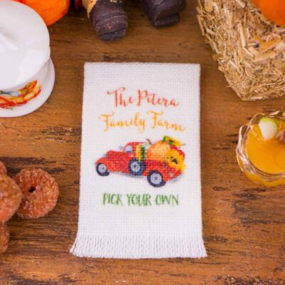 Dollhouse Miniature Personalized Family Farm Pumpkin Truck Tea Towel - 1:12 Dollhouse Miniature - Fall Miniatures