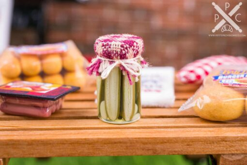 Dollhouse Miniature Dill Pickles in a Canning Jar - 1:12 Dollhouse Miniature Pickle Jar