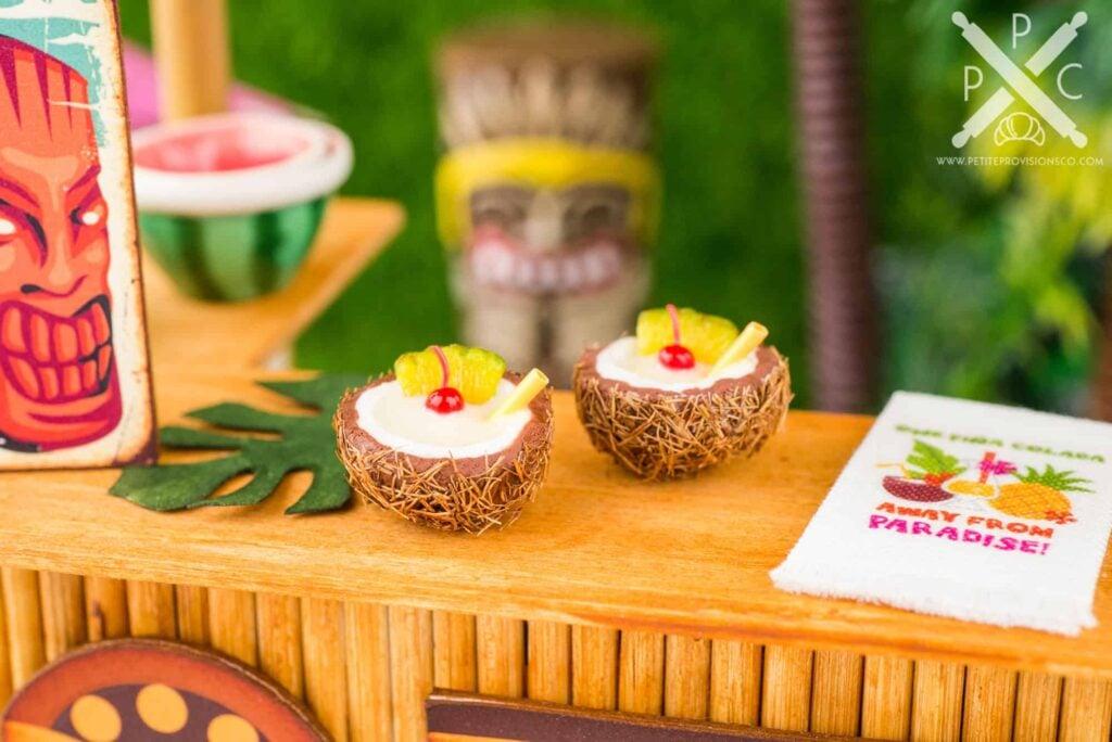 Dollhouse Miniature Piña Coladas for Two in Coconut Cups - 1:12 Dollhouse Miniature Tropical Cocktail