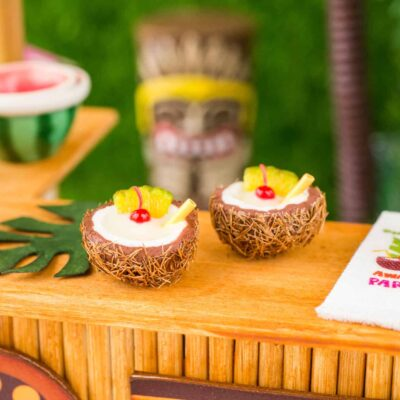 Dollhouse Miniature Piña Coladas for Two in Coconut Cups - 1:12 Dollhouse Miniature Tropical Cocktail