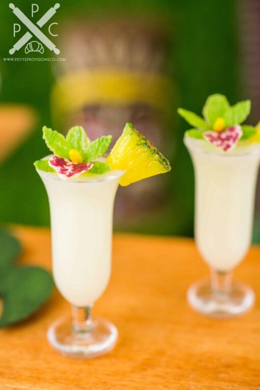 Dollhouse Miniature Piña Coladas for Two with Orchids - 1:12 Dollhouse Miniature Tropical Cocktail