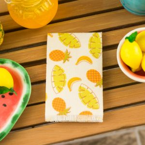 Tropical Bananas and Pineapples Tea Towel