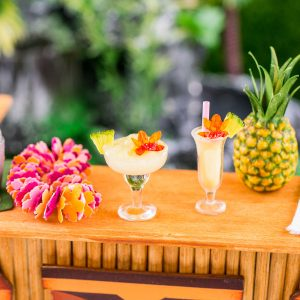 Piña Colada or Pineapple Frozen Margarita with Orchid