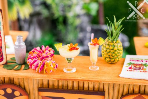 Dollhouse Miniature Pineapple Cocktail - Piña Colada - Pineapple Frozen Margarita with Orchid - 1:12 Dollhouse Miniature Tropical Cocktail