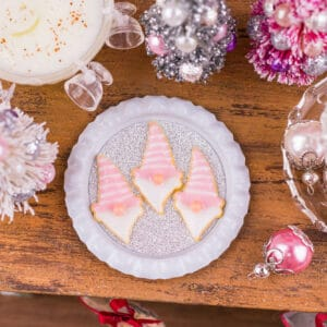 Pink Christmas Gnome Cookies on Tray