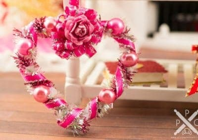 Pink Floral Heart Shaped Valentine's Day Wreath