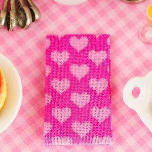 Pink Hearts Tea Towel