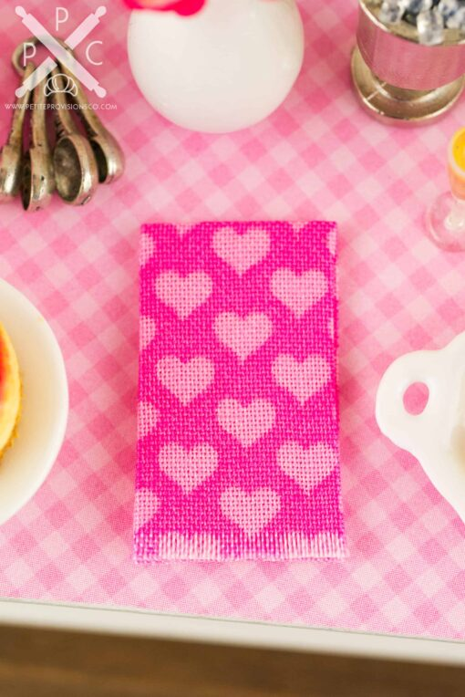 Dollhouse miniature pink hearts tea towel