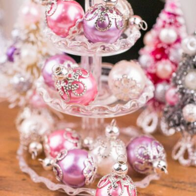 Dollhouse Miniature Elegant Pink, Purple and Ivory Christmas Ornaments - Set of 6 - 1:12 Dollhouse Miniature Ornaments