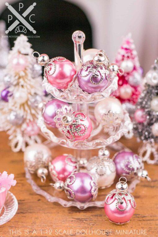 Dollhouse Miniature Elegant Pink, Purple and Ivory Christmas Ornaments - Set of 6 - 1:12 Dollhouse Miniature Ornaments