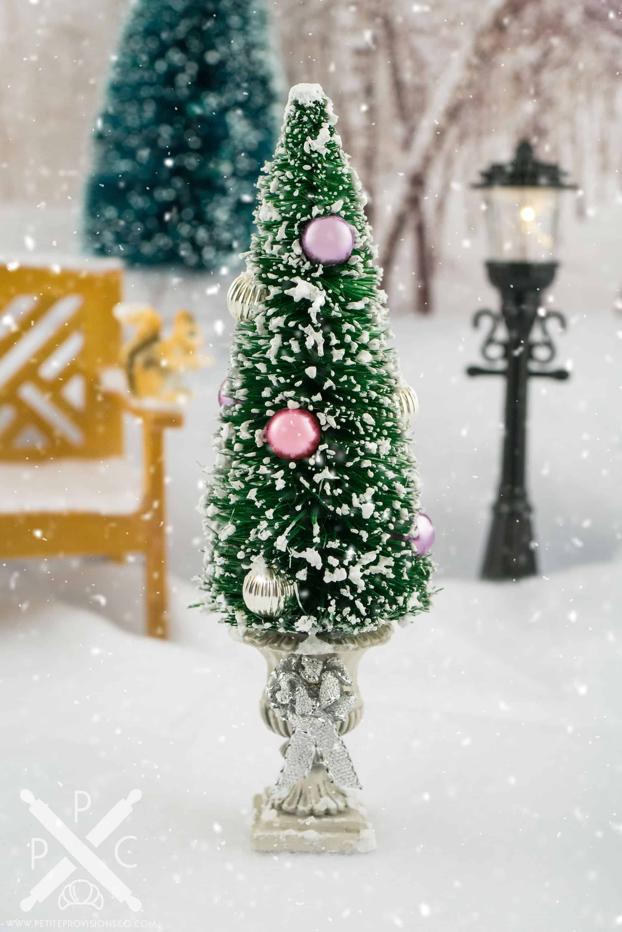 Pink Purple And Silver Snowy Potted Christmas Tree