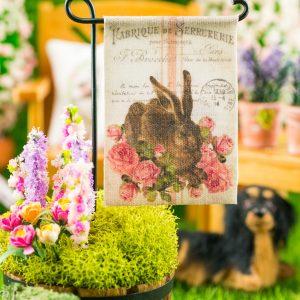 Rabbit and Roses Easter Garden Flag