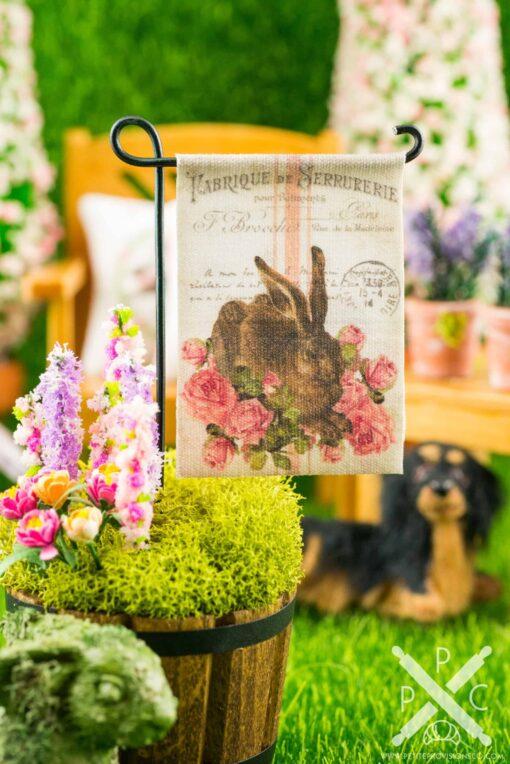 Dollhouse Miniature Rabbit and Roses Easter Garden Flag