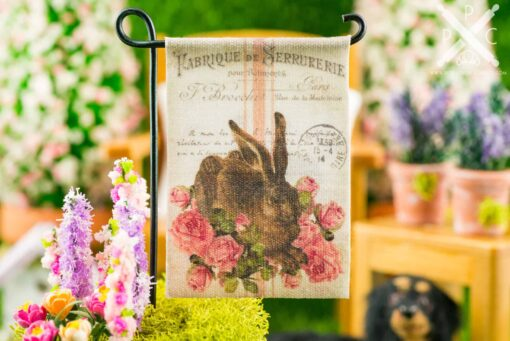 Dollhouse Miniature Rabbit and Roses Easter Garden Flag