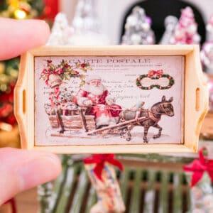 Pink Vintage Santa Christmas Wood Tray
