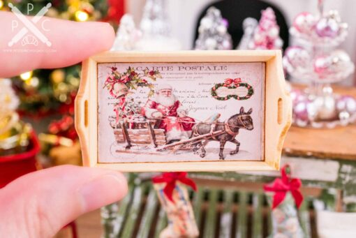 Dollhouse Miniature Pink Vintage Santa Christmas Wood Tray - 1:12 Dollhouse Miniature Christmas Decor - Christmas Miniatures