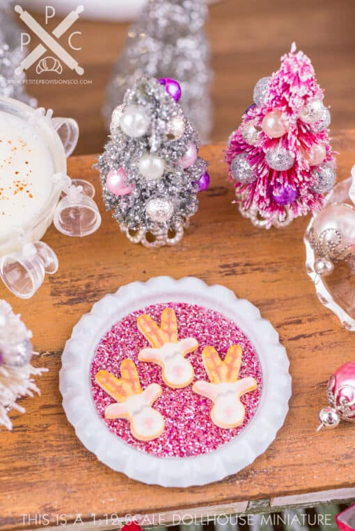 Dollhouse Miniature White Reindeer Cookies on Tray - 1:12 Dollhouse Miniature Christmas Cookies