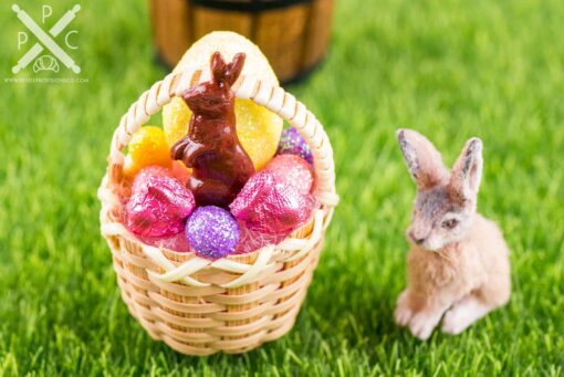 Dollhouse Miniature Easter Basket with Glitter Easter Eggs and Chocolate Bunny - 1:12 Dollhouse Miniature Easter