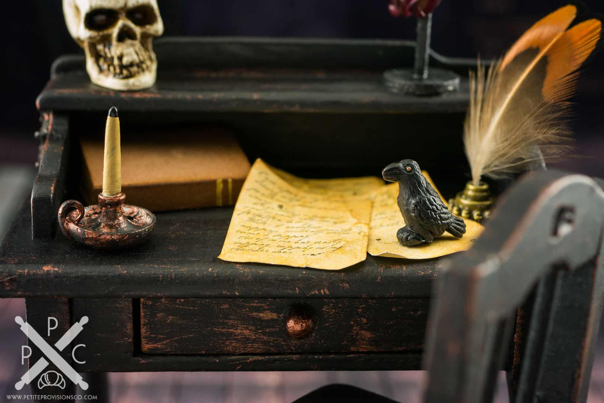 Poe's Writing Desk... A Sneak Peek at New Halloween Miniatures