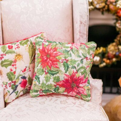 Dollhouse Miniature Poinsettia Christmas Pillow - 1:12 Dollhouse Miniature Christmas Throw Pillow - Christmas Miniatures