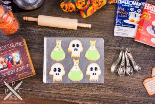 Dollhouse Miniature Poison and Skull Cookies on Tray - 1:12 Dollhouse Miniature Halloween Cookies