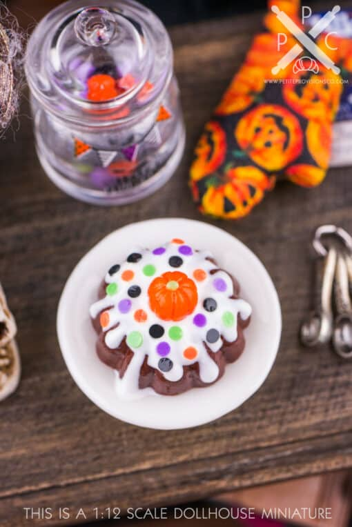 Dollhouse Miniature Halloween Polka Dot and Pumpkin Bundt Cake - 1:12 Dollhouse Miniature - Miniature Halloween