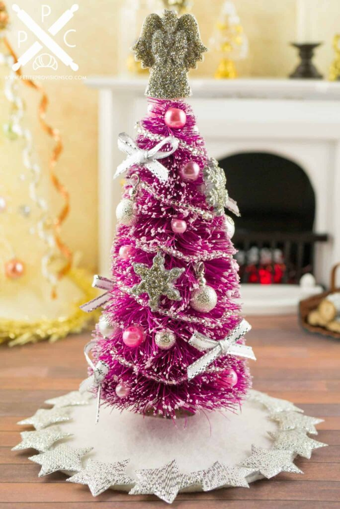 Miniature pretty in pink decorated christmas tree 1 12 for Miniature tree decorated with sea shells