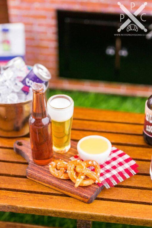 Dollhouse Miniature Soft Pretzels, Cheese Sauce and Beer Set - 1:12 Dollhouse Miniature Appetizer Set