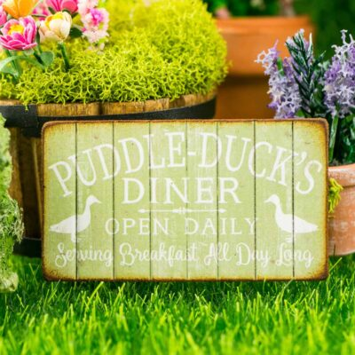 Dollhouse Miniature Puddle-Duck's Diner Sign