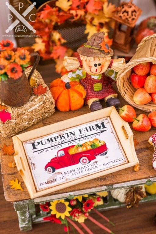 Dollhouse Miniature Autumn Themed Wood Serving Tray - 1:12 Dollhouse Miniature Fall Decor - Various Designs