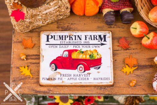 Dollhouse Miniature Pumpkin Farm Pickup Truck Sign - Decorative Autumn Sign - 1:12 Dollhouse Miniature Fall Sign