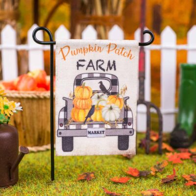 Dollhouse Miniature Pumpkin Patch Farm Garden Flag - 1:12 Dollhouse Miniature Garden Flag
