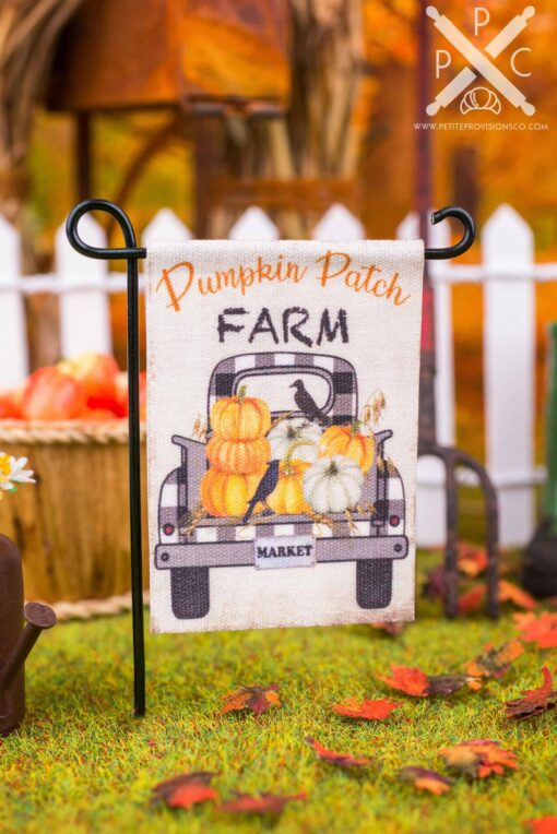 Dollhouse Miniature Pumpkin Patch Farm Garden Flag - 1:12 Dollhouse Miniature Garden Flag