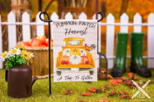 Dollhouse Miniature Pumpkin Patch Harvest Garden Flag - 1:12 Dollhouse Miniature Garden Flag