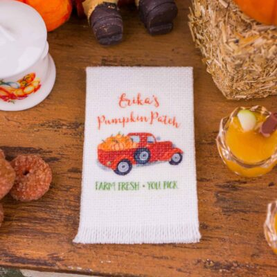 Dollhouse Miniature Personalized Pumpkin Patch Tea Towel - 1:12 Dollhouse Miniature - Fall Miniatures
